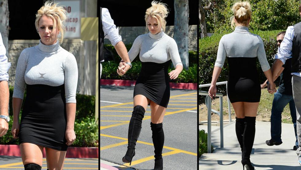 """KINKY KIRKEGJENGER: Britney Spears fikk lange blikk da hun troppet opp i kirken søndag med lårhøye """"Pretty Woman""""-støvletter og høyhalset minikjole. Popstjernen er inne i en dårlig periode klesmessig. Se alle antrekkene nederst i saken.   Foto: All Over Press"""