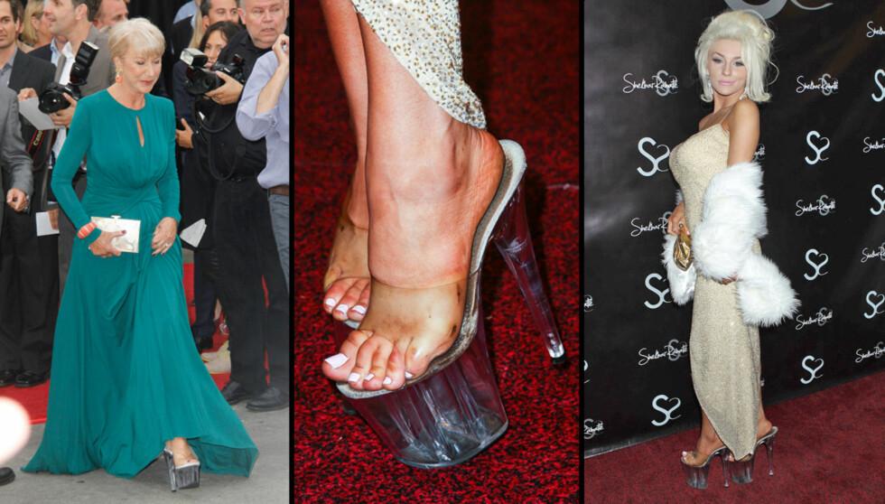 STRIPPERSKO: Helen Mirren ankom «Red 2»-premieren i Los Angeles i skyhøye plastsandaler med platåsåle. Realitykjendisen Courtney Stodden (t.h.) har de samme skoene i sitt klesskap.  Foto: All Over Press