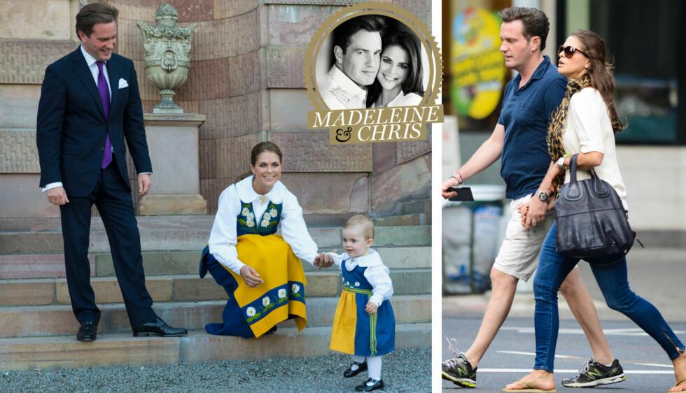 GIFTEKLARE: Lørdag 8. juni står store deler av Sverige stille når prinsesse Madeleine og Chris O´Neill gifter seg. Her er de fra den svenske nasjonaldagen med lille Estelle, og fra tiden etter at forholdet deres ble kjent.  Foto: Stella pictures