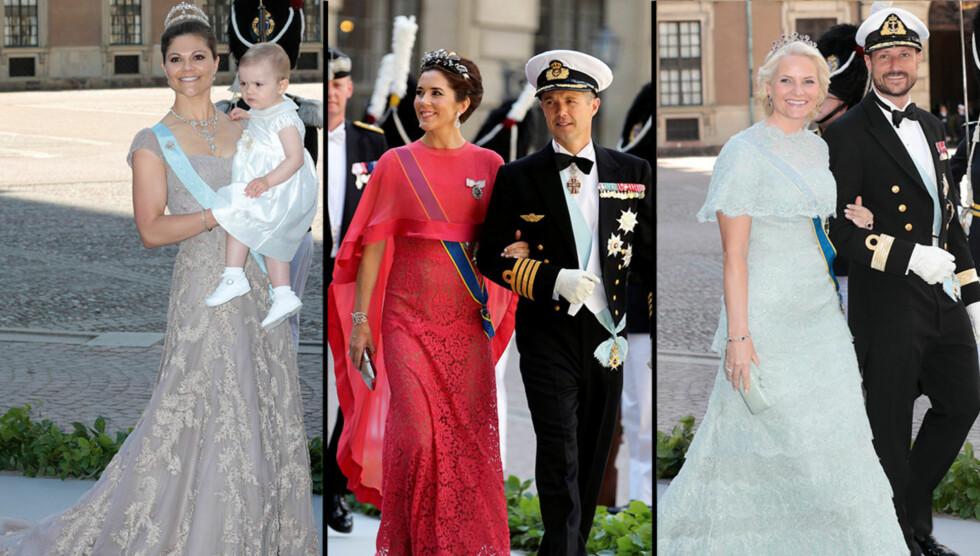 TOPP TRE: Av gjestene i det kongelige bryllupet, var det kronprinsessene Victoria, Mette-Marit og Mary som var best kledd, mener Ellen Arnstad. Foto: SCANXPIX, All Over
