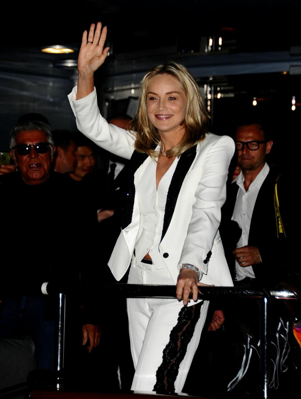 FLYTTET INN: Sharon Stone bodde på Robertos yacht under filmfestivalen i Cannes.  Foto: All Over Press