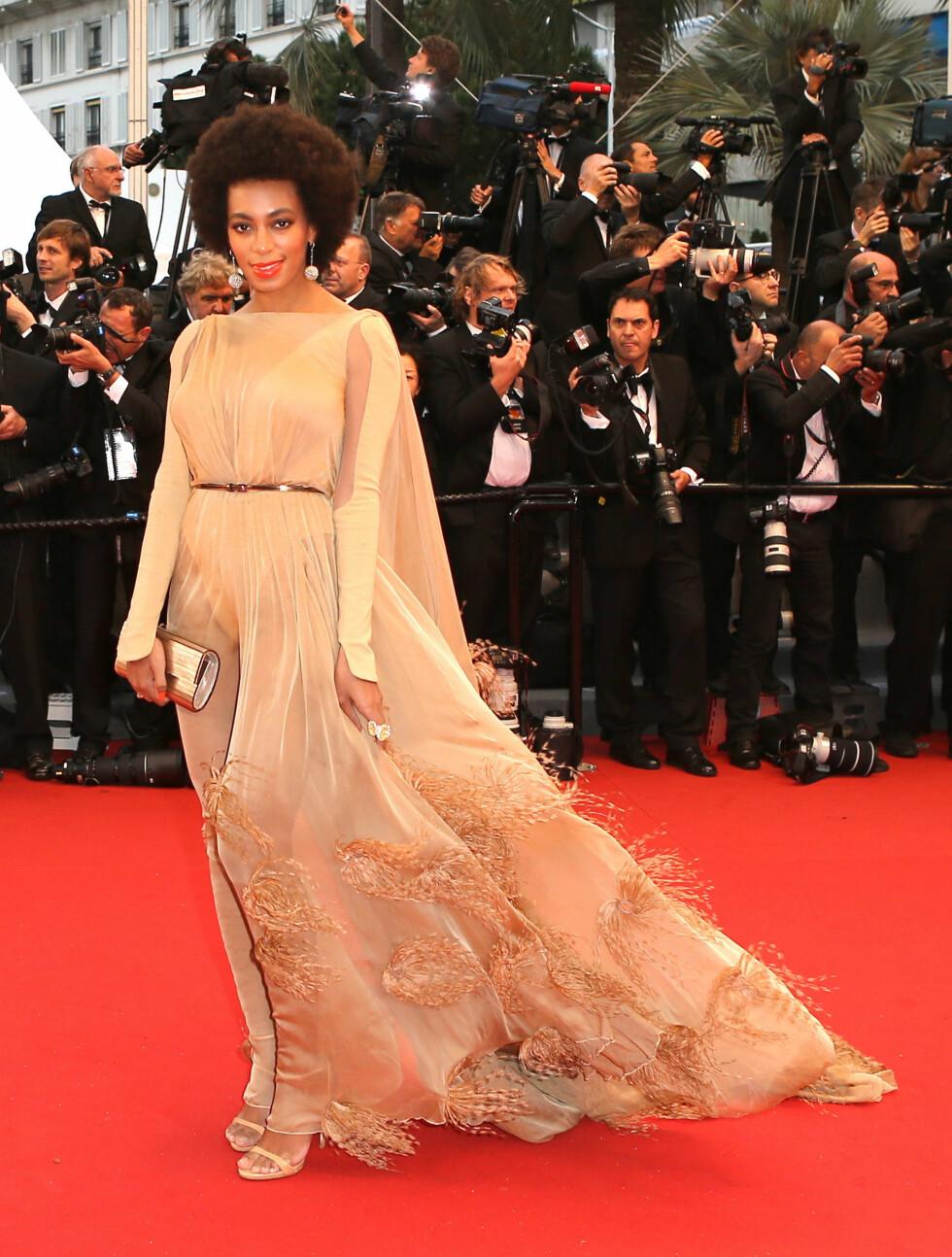 CANNES: Beyoncés søster Solange var til stede på Cannes-festivalen. Foto: FameFlynet Sweden