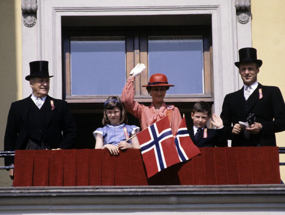 1981: På 70- og 80-tallet var dette den faste gjengen. Kong Olav og daværende kronprins Harald med sin familie.  Foto: NTB scanpix