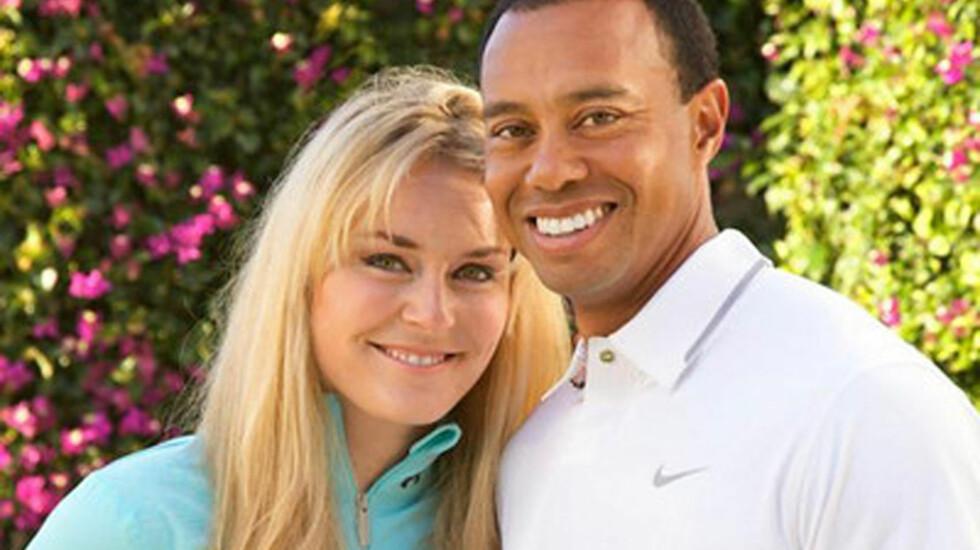 EKTE KJÆRLIGHET?: Tiger Woods fortalte nylig at han har blitt sammen med alpinisten Lindsey Vonn, og det spekuleres nå i om forholdet er iscenesatt for å fremme idrettsstjernenes karrierer.  Foto: FameFlynet