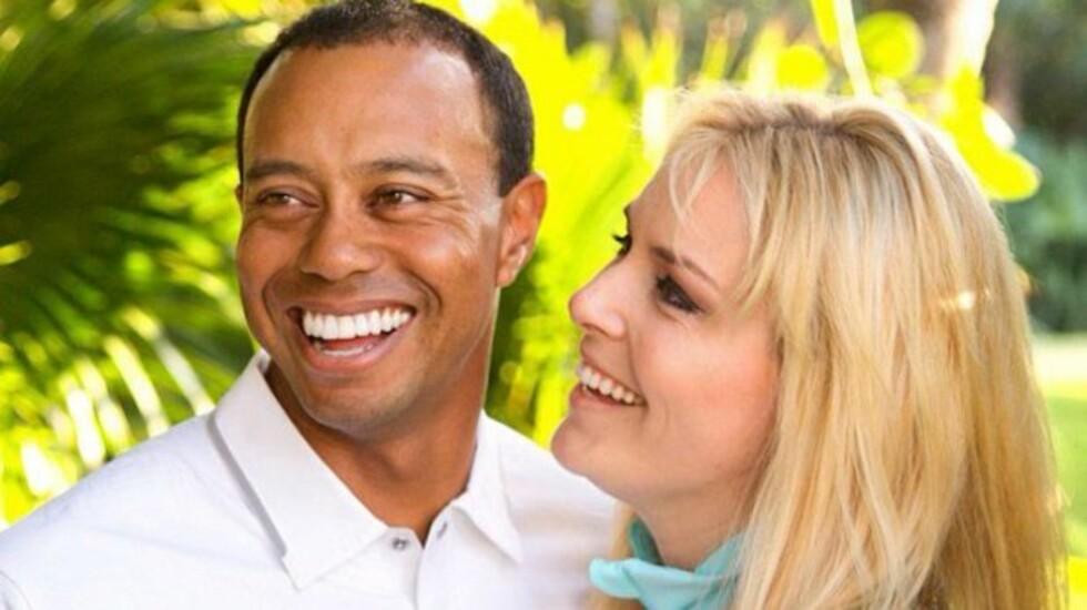 NYTT PAR: Mandag bekreftet Tiger Woods at han nå er i et forhold med skistjernen Lindsey Vonn. De to var lenge venner, men de siste månedene skal vennskapet ha utviklet seg til forelskelse.  Foto: All Over Press
