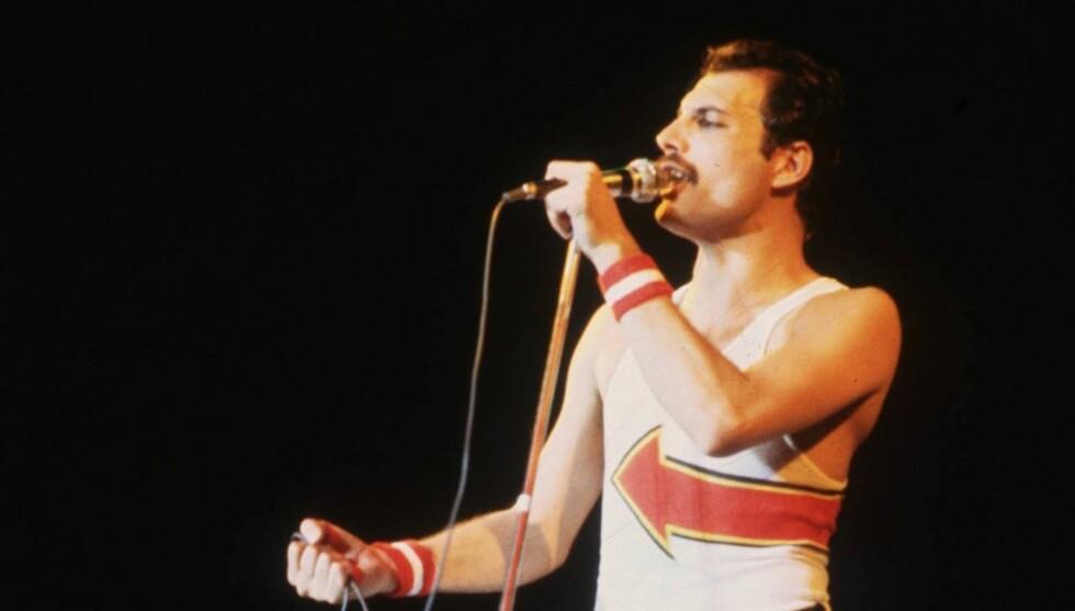 ROCKELEGENDE: Freddie Mercury var frontfigur i den ekstremt populære rockebandet Queen. Foto: Getty Images