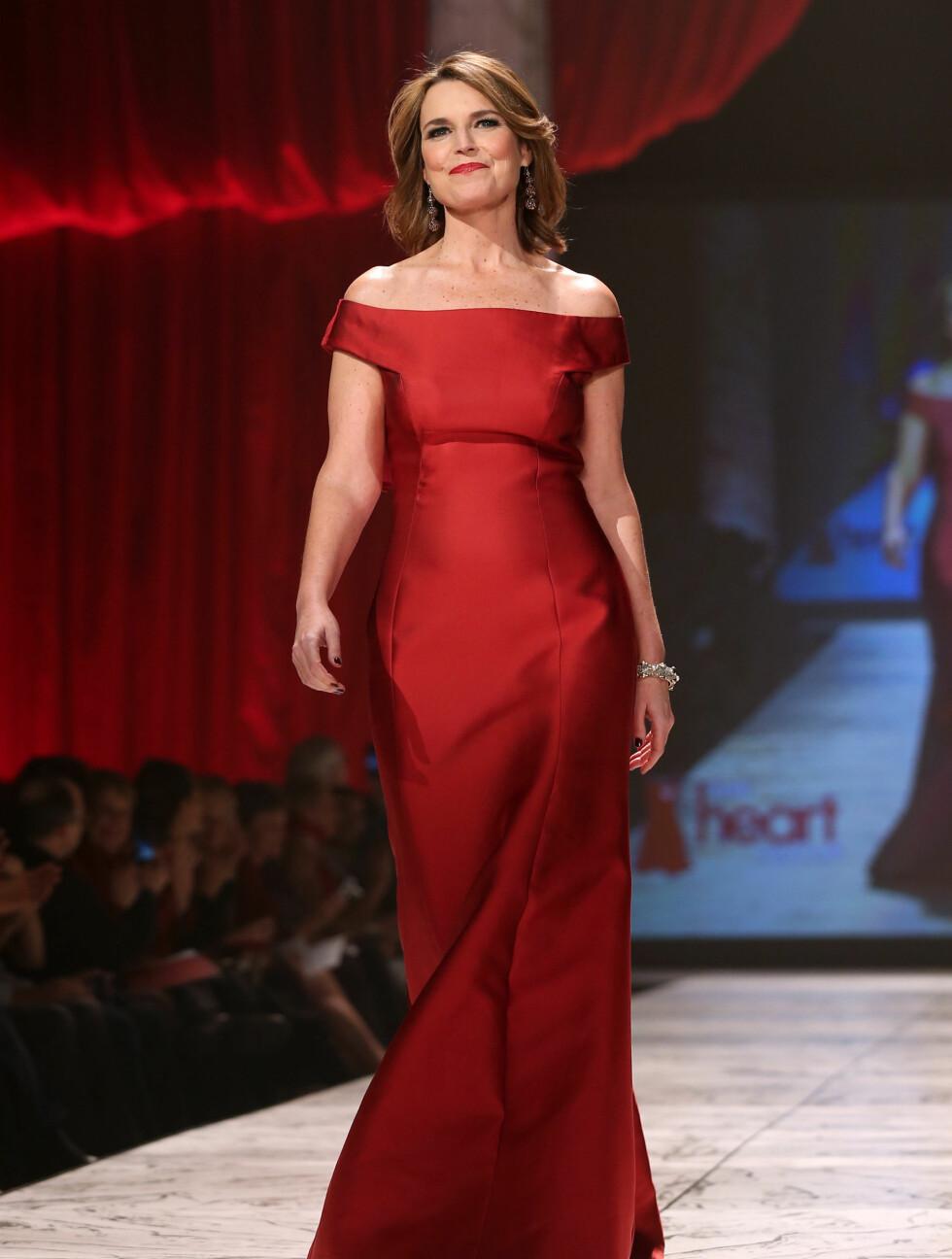 ELEGANT: «The Today Show»-vertinne Savannah Guthrine strålte i en fotsid kjole fra Carolina Herrera. Foto: All Over Press
