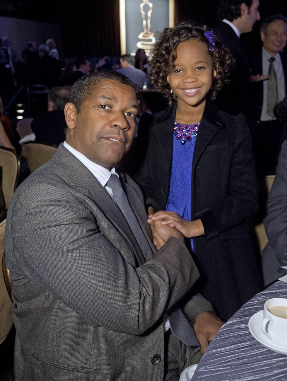 PÅ OSCAR-LUNSJ: Denzel Washington og Quvenzhane Wallis . Foto: Stella Pictures