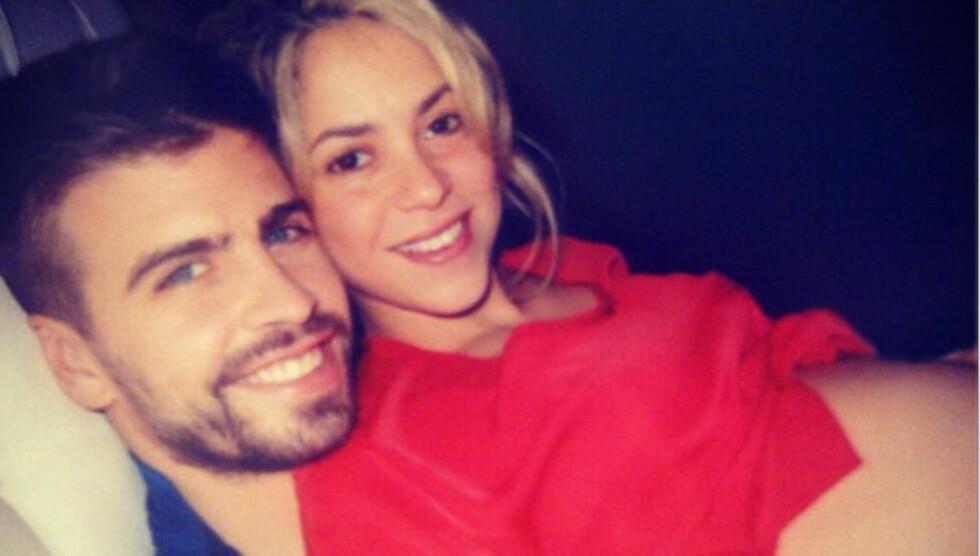 LYKKELIGE: For ti dager siden ble Shakira og Gerard Piqué foreldre for første gang.  Foto: Instagram