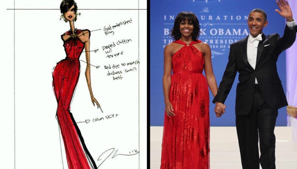 LADY IN RED: Den amerikanske moteskaperen Jason Wu har designet den valmuerøde kjolen Michelle Obama bar under innsettelsesballet med ektemannen Barack Obama i Washington D.C. mandag kveld. Designeres illustrasjon (til venstre) viser detaljene i utringin Foto: Twitter/AlinaChooCNN og All Over Press