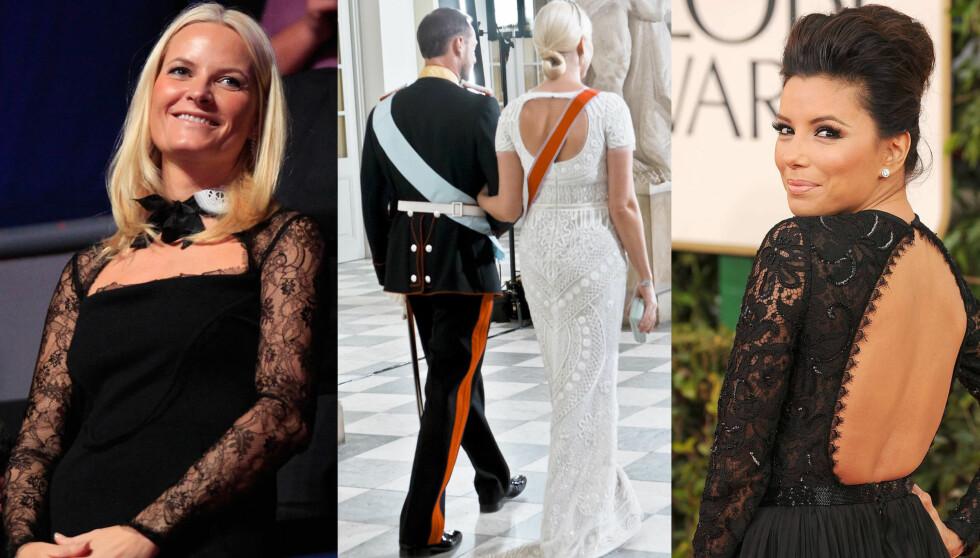 LIKHETSTREKK: Eva Longorias Golden Globe-kjole, designet av Emilio Pucci, minnet mye om Pucci-kjoler kronprinsesse Mette-Marit tidligere har brukt. Foto: NTB scanpix og All Over Press