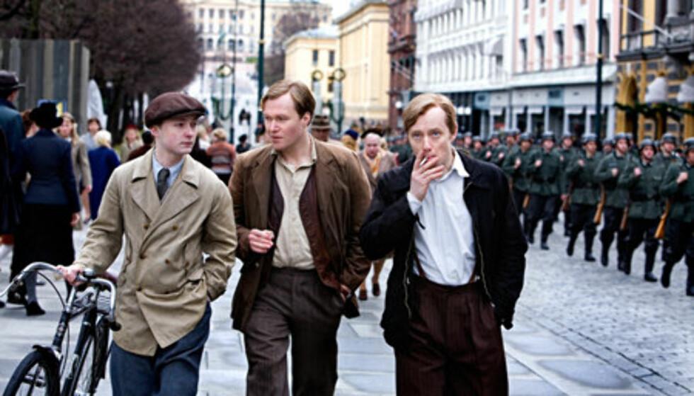 SUKSESS: Knut Joner (t.h.) spilte med blant andre Aksel Hennie og Christian Rubeck i kinosuksessen fra 2008. Hennie portretterte Max Manus, mens Rubeck spilte Kolbein Lauring - to av medlemmene i den beryktede sabotasjegruppa «Oslogjengen».