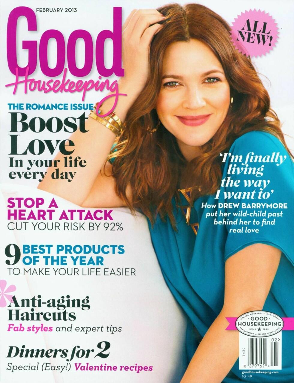 FAKSIMILE: I februarutgaven av amerikanske Good Housekeeping, forteller Drew Barrymore om hvordan det er å ha blitt mor og hvordan livet med ektemannen er. Foto: All Over Press