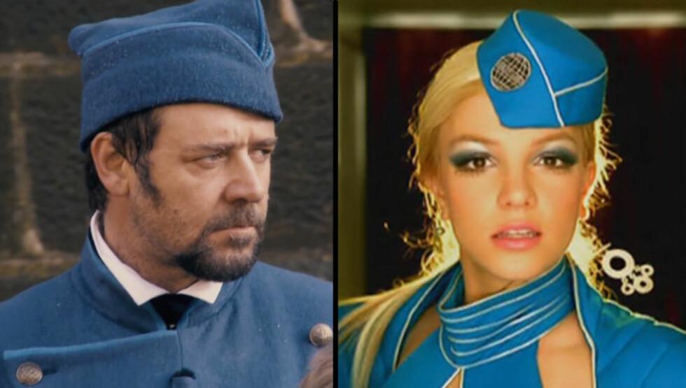 "KOPIEN OG ORIGINALEN: Russell Crowes uniform i ""Les Misérables"" minner sterkt om Britney Spears flyvertinneantrekk i musikkvideoen ""Toxic"".  Foto: Universal Pictures/Jive Records"