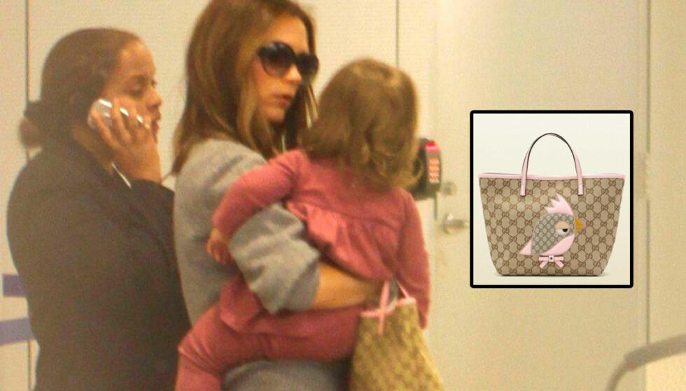 GUCCI-GIRL: Victoria Beckham kler datteren kun i designerklær. Det siste tilskuddet i garderoben til lille Harper er denne barnevesken fra Gucci.  Foto: All Over Press/Gucci.com