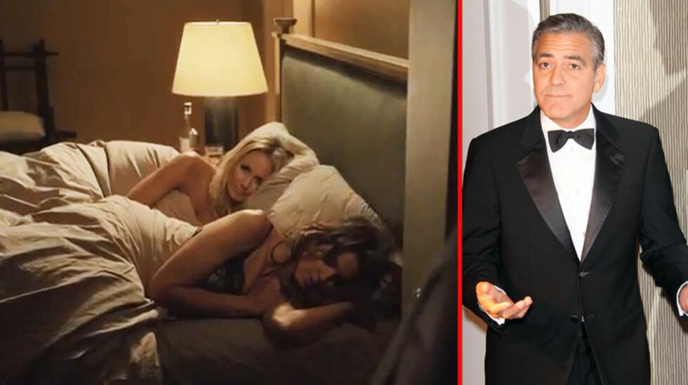 OOOPS: I den ferske reklamefilmen til George Clooneys nye tequilamerke går det over stokk og stein - han finner blant annet kjæresten Stacy Kiebler (bak) fornøyd til sengs med supermodell Cindy Crawford... Foto: Skjerdump YouTube, Stella Pictures