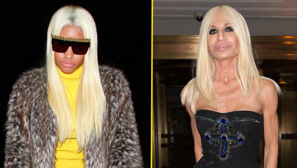 KOPIEN: Da Nicki skulle ut til middag i Beverly Hills dukket hun opp slik, som får medier til å sammenligne henne med Donatella Versace. Foto: All Over Press