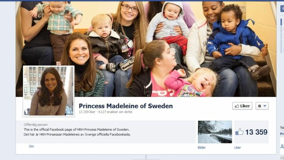 NETTPRINSESSE: Svenske eksperter tror prinsessens Facebook-profil er populær fordi folk føler at de kan kommunisere direkte med Madeleine.  Foto: Facebook