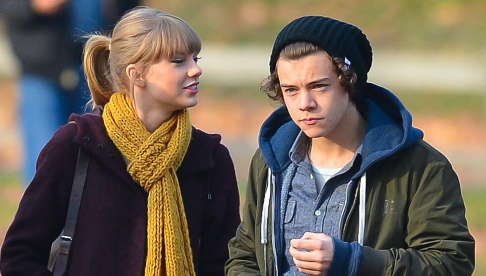 POPSTJERNER: Harry Styles med kjæresten Taylor Swift i Central Park i New York tidlig i desember. Foto: FameFlynet