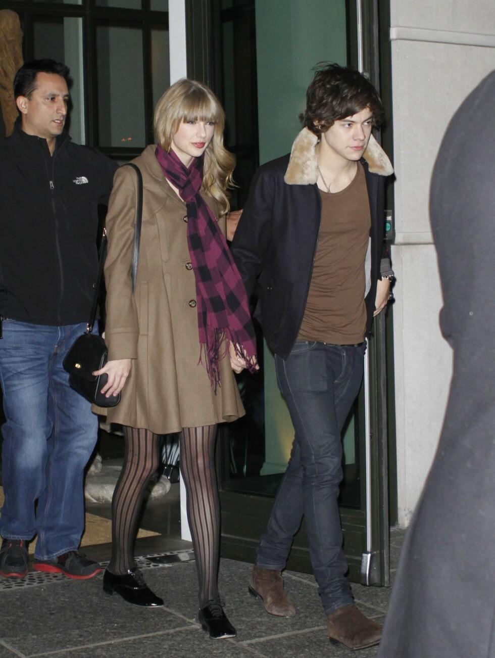 HARRY + TAYLOR = SANT?: Taylor Swift har blitt styrtrik på å skrive sanger om sine mislykkete kjærlighetsforhold, men så langt ser alt ut til å gå på skinner mellom henne og One Direction-medlemmet Harry Styles. Foto: All Over Press