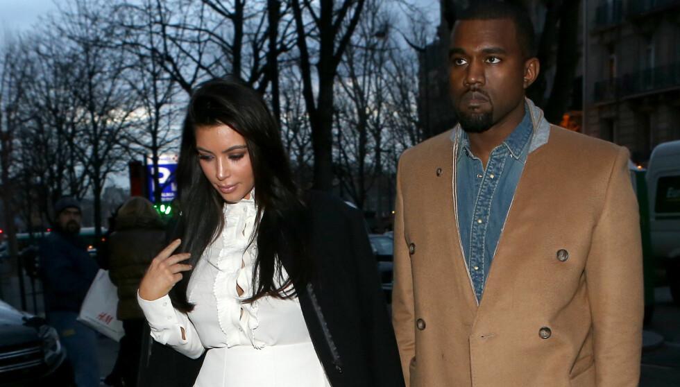 ADVARSEL: Kanye Wests eks-kjæreste hevder han er usikker og sårbar, og hun spår ikke en lys fremtid for ham og Kim Kardashian. Her er de vordende foreldrene avbildet sammen i Paris for et par uker siden.  Foto: FameFlynet