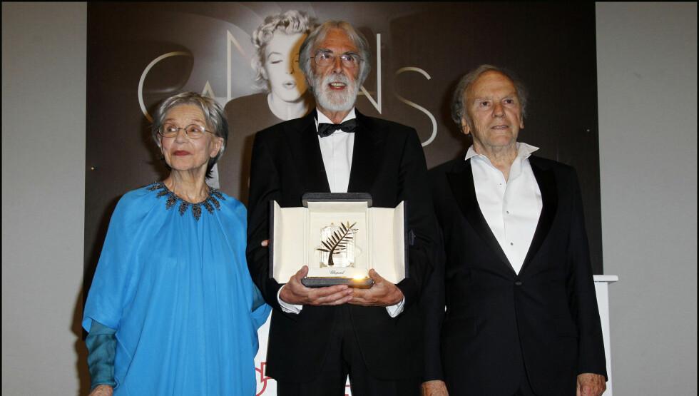 SMERTEFULL SEIER: «Amour» vant Gullpalmen under filmfestivalen i Cannes i mai (bildet). Dessuten har den vunnet en rekke andre priser og er nominert til både Oscar og Golden Globe. Men skuespiller Jean-Louis Trintignant (t.h) beskriver arbeidet med reg Foto: Stella Pictures
