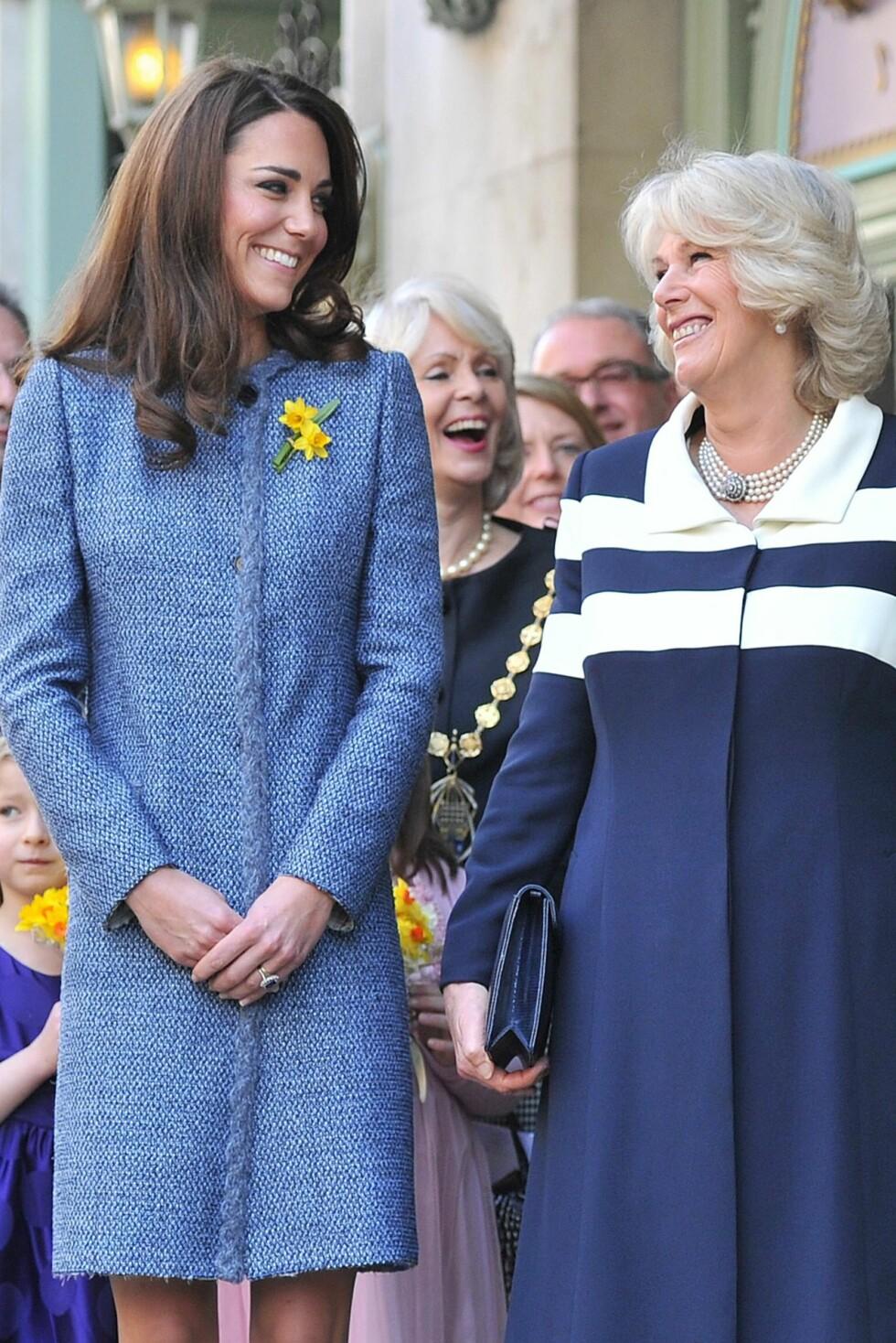 GODE RÅD: Kate har et godt og varmt forhold til sin svigermor, hertuginne Camilla - og tok gladelig imot hennes råd om lavendelkjeks mot den påtrengende kvalmen.