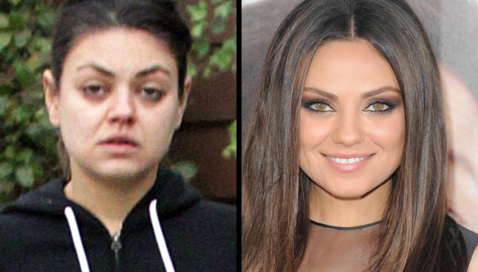 SMINKELØS: Mila Kunis er nok mer fornøyd med bildet til høyre, enn det som ble tatt da hun var ute med kjæresten tidligere denne måneden.  Foto: Fameflynet