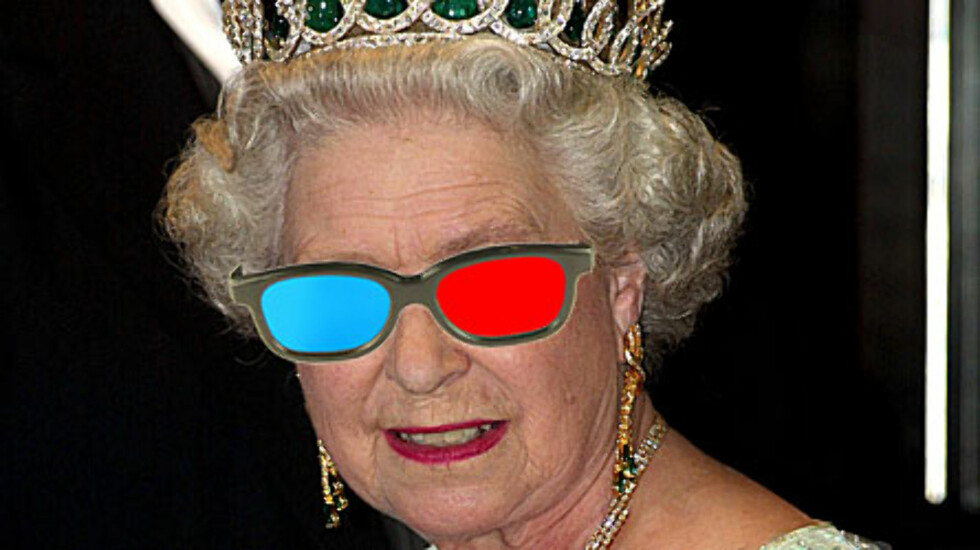 MODERNE: Dronning Elizabeth sender i år sin juletale i 3D. Foto: Fotomontasje AOP