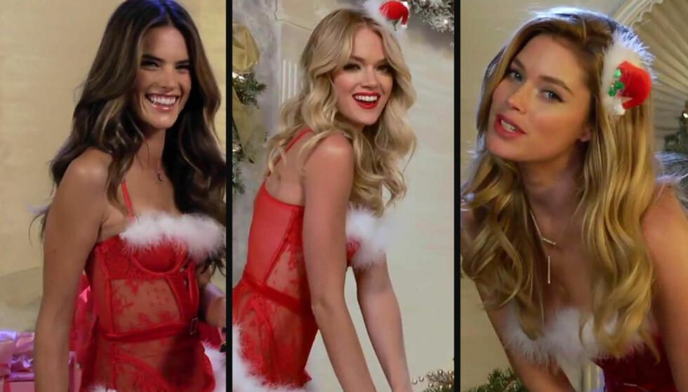 SEXY NISSE-VIDEO: Undertøysmerket Victoria's Secret har valgt en humoristisk vri på sin julevideo, med sine modeller i hovedrollen. Foto: Fra videoen