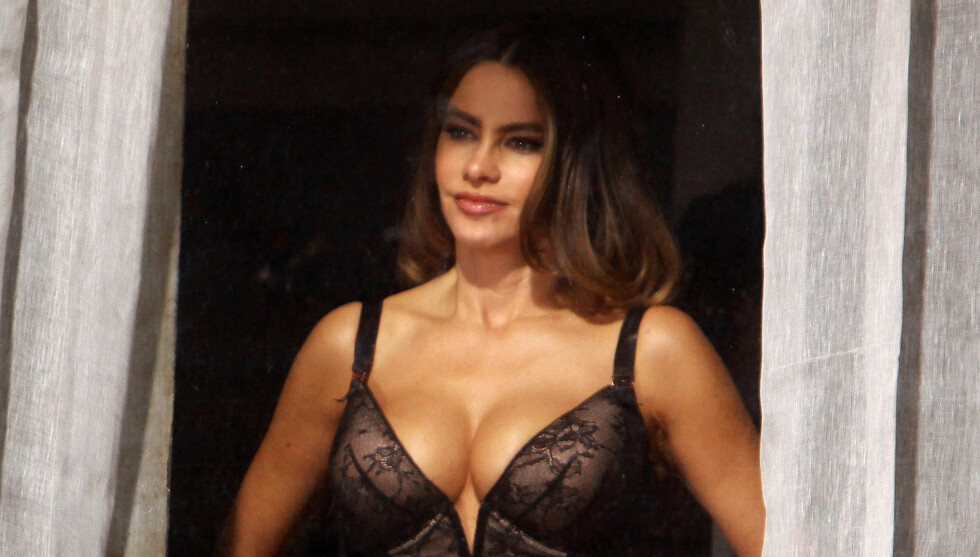 OVERLOT LITE TIL FANTASIEN: Sofia Vergara viste seg fram i vinduet under filminnspillingen.  Foto: All Over Press