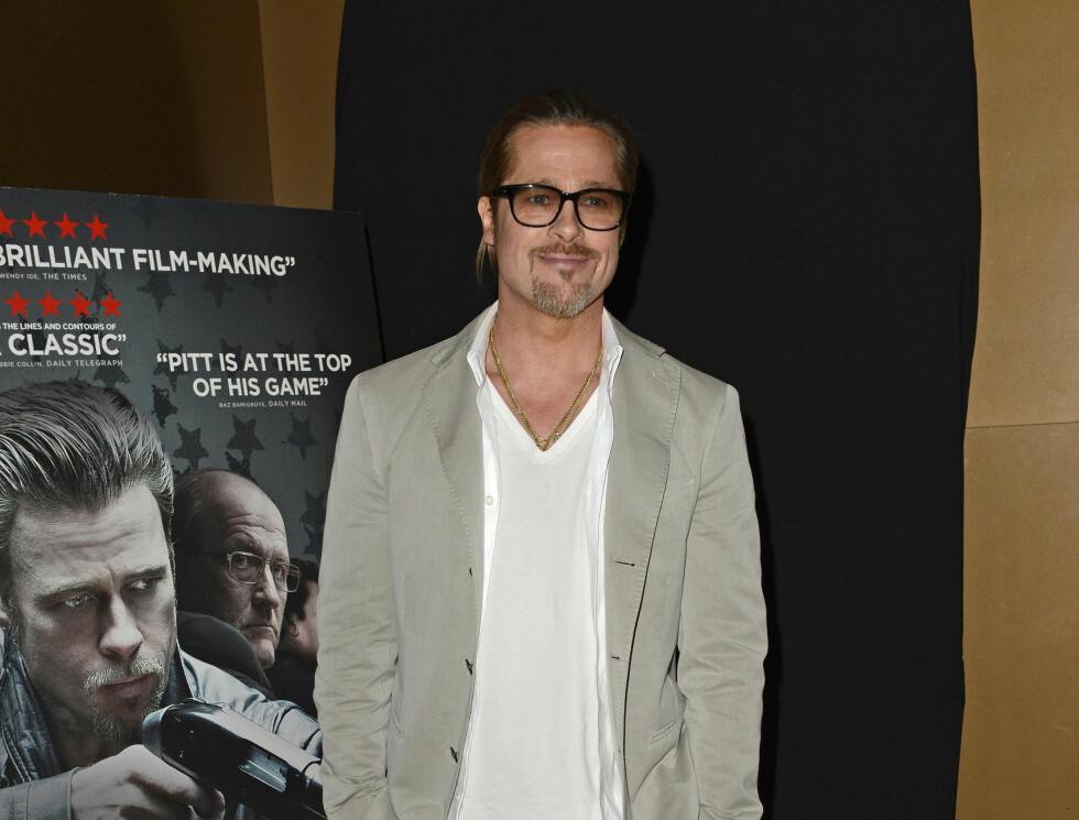 KJENDISMENN MED BART: Brad Pitt Foto: Stella Pictures