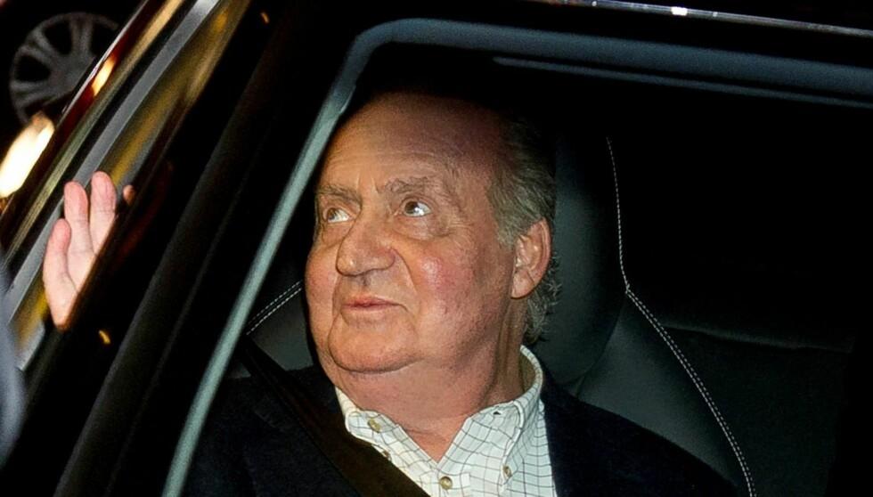 TIL SYKEHUS: Kong Juan Carlos er på ny innlagt på sykehuset San Jose i Madrid. Dette er det tredje kirurgiske inngrepet han må ta etter den famøse elefantjakten med elskerinnen. Foto: All Over Press