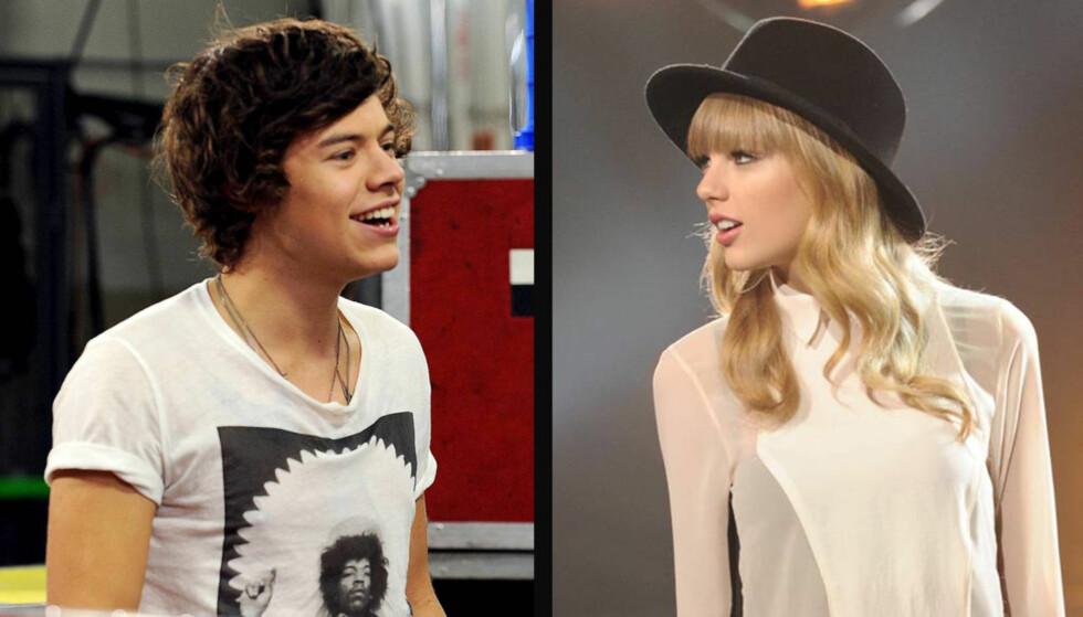 KJÆRESTER?: Tonen skal ha vært svært romantisk mellom Taylor Swift og hennes artistkollega Harry Styles fra bandet One Direction, da han fulgte henne under en «X Factor»-øvelse i USA 15. november. Foto: All Over