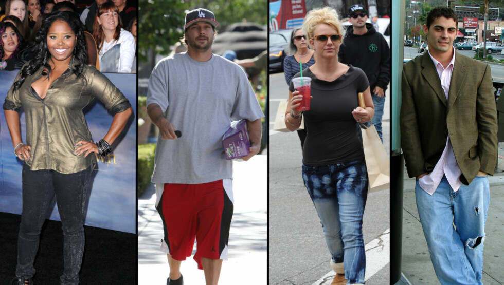 FIRKANT-DRAMA?: Fra venstre: Shar Jackson, Kevin Federline, Britney Spears og Jason Alexander. Britney Spears har vært gift med både Federline og Alexander. Federline har to barn med Jackson. Nå har Jackson og Alexander blitt et par. Foto: All Over Press