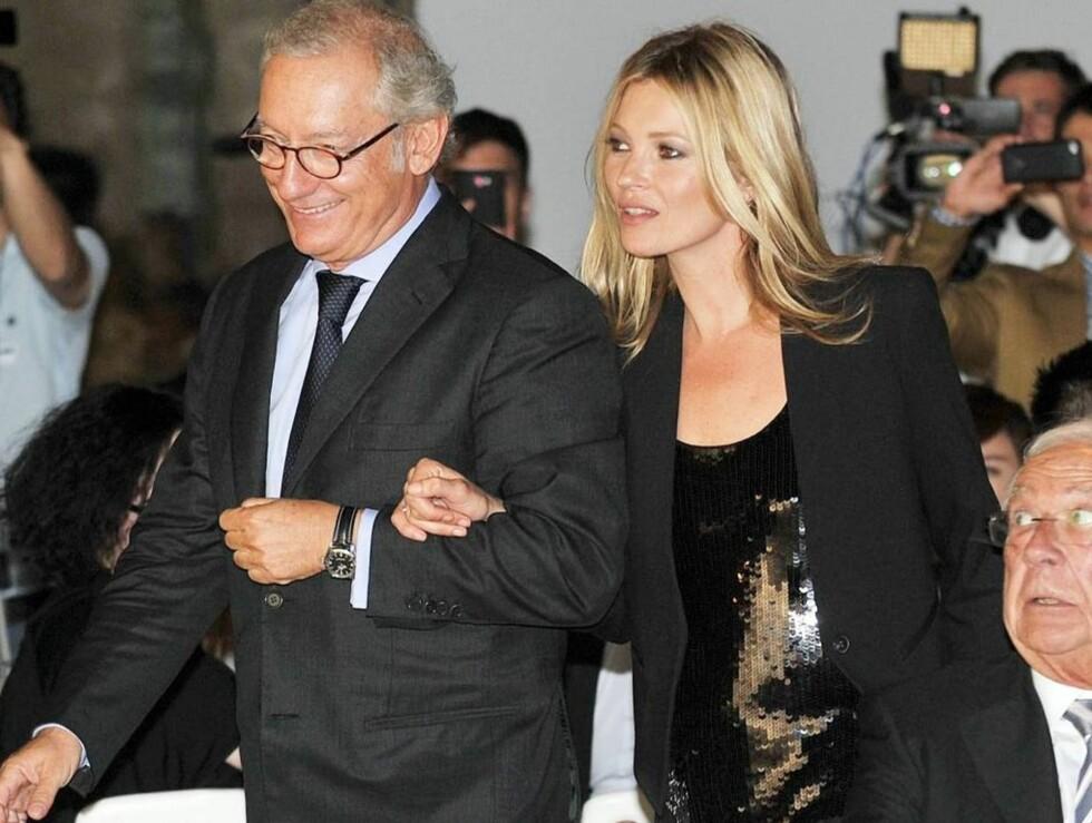 MUSE: Mango-grunnlegger Isak Andic har jobbet tett med modell Kate Moss siden de to inngikk samarbeid i fjor høst. Her på en motevisning for kleskjeden i mai i år. Foto: All Over Press