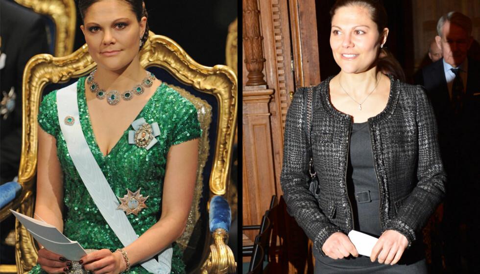 NOBEL HYLLEST: Kronprinsesse Victoria var kledd opp i sine vakreste smykker til Nobel-festen - men droppet sin gjeveste ring - bryllupsringen...