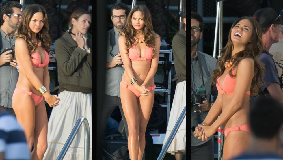 POPULÆR MODELL: Halvt norske Christine Teigen gjør for tiden stor suksess som modell i USA. Her er hun på en bikini-fotoshoot i Miami tidligere denne måneden. Foto: All over