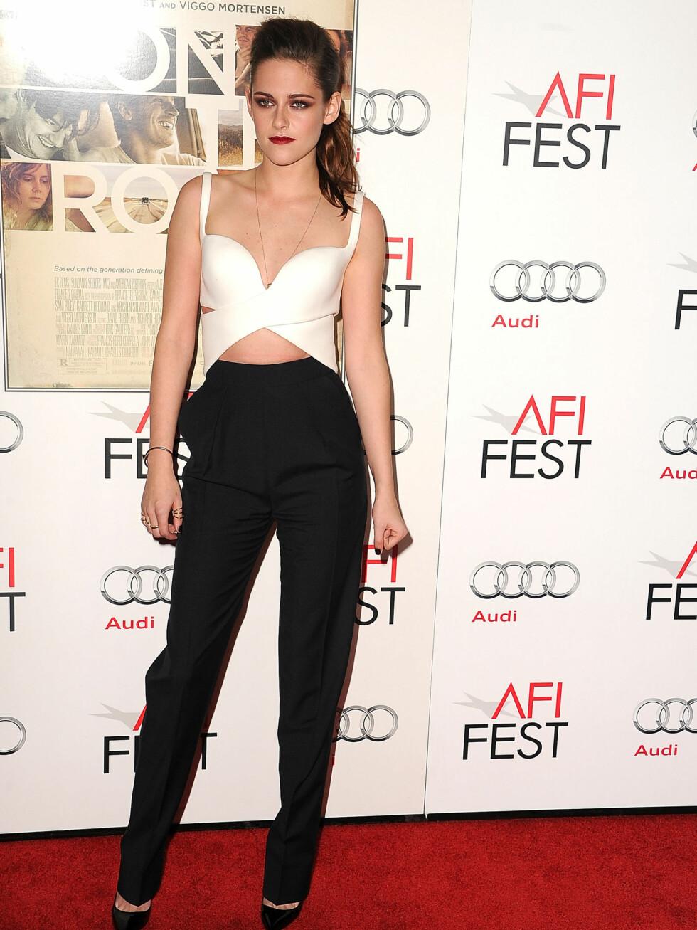 VISTE MAGEN: Kristen Stewart på  On The Road premiere i starten av november. Foto: All Over Press