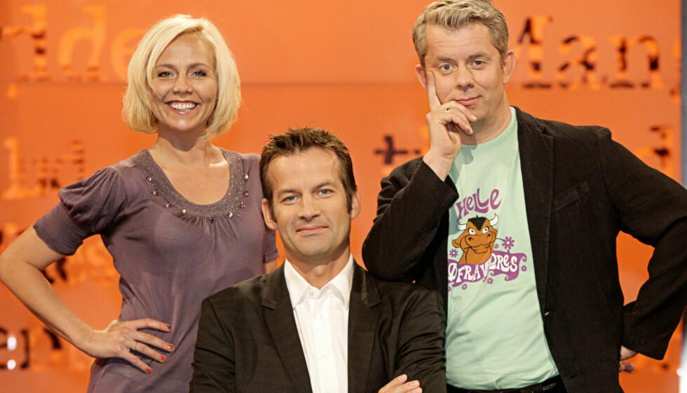 TRIO: Linn Skåber, Jon Almaas og Knut Nærum er en del av NRKs populære fredagsgullrekka med humorprogrammet «Nytt på Nytt». Foto: NRK