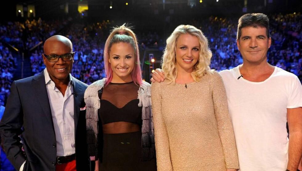 DOMMER: Ved siden av sangkarrieren er Britney Spears å se som dommer i talentshowet X factor, sammen med L.A. Reid, Demi Lovato, og Simon Cowell. Foto: All Over Press
