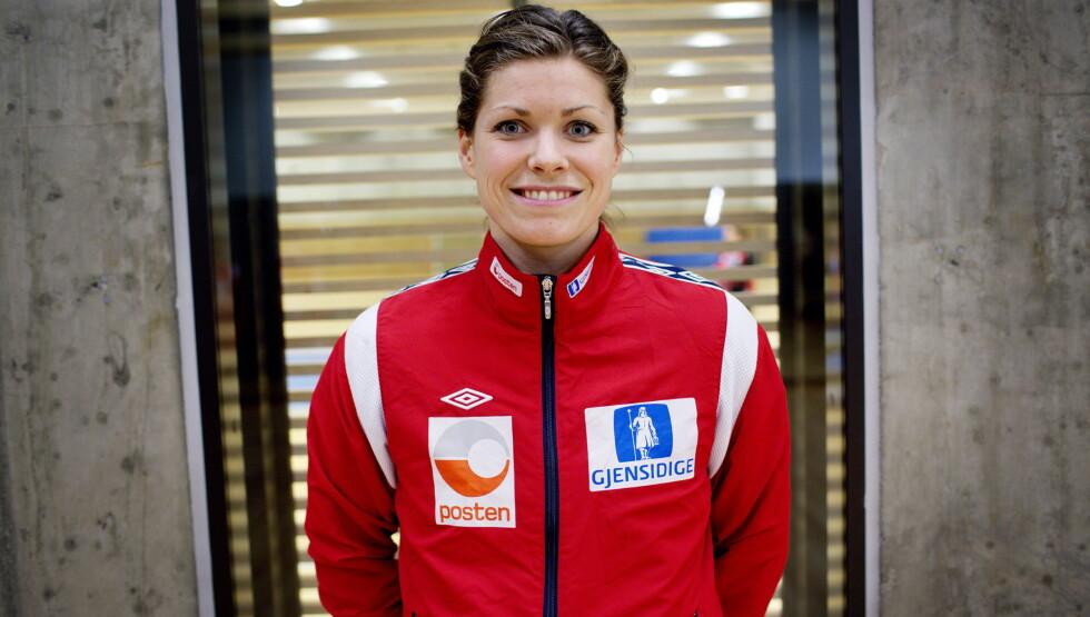 GRAVID: Håndball-målvakt Kari Aalvik Grimsbø sier i en pressemelding at hun og ektemannen Håvard lenge har hatt lyst på barn og at tidspunktet nå var riktig. Men OL-stjernen har fortsatt lyst til å stå i mål under OL i Rio i 2016.  Foto: NTB scanpix