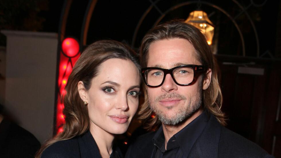 SNART EKTEPAR: Brad Pitt og Angelina Jolie forlovet seg i april i år. Foto: All Over Press