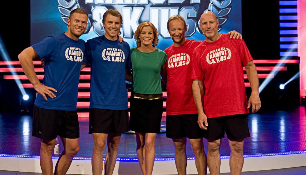 NY SESONG: Kjetil André Aamodt og Lasse Kjus er tilbake med en ny sesong av «Hvem kan slå Aamodt og Kjus?». Pia Lykke er som vanlig programleder, men denne gangen uten baby i magen. Foto: TVNorge