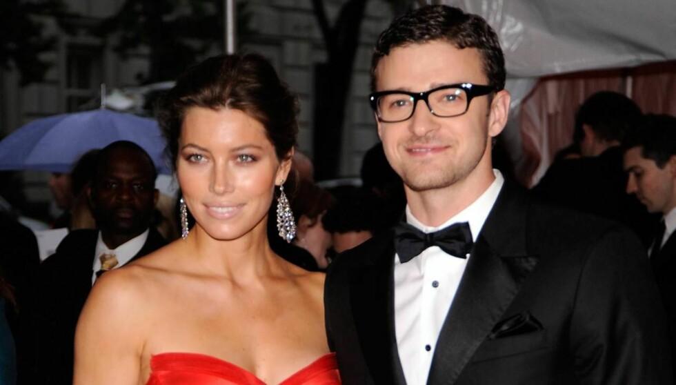 GIFT: Jessica Biel og Justin Timberlake forlovet seg ved juletider i 2011. Knapt et år senere har de to blitt mann og kone. Foto: All Over Press