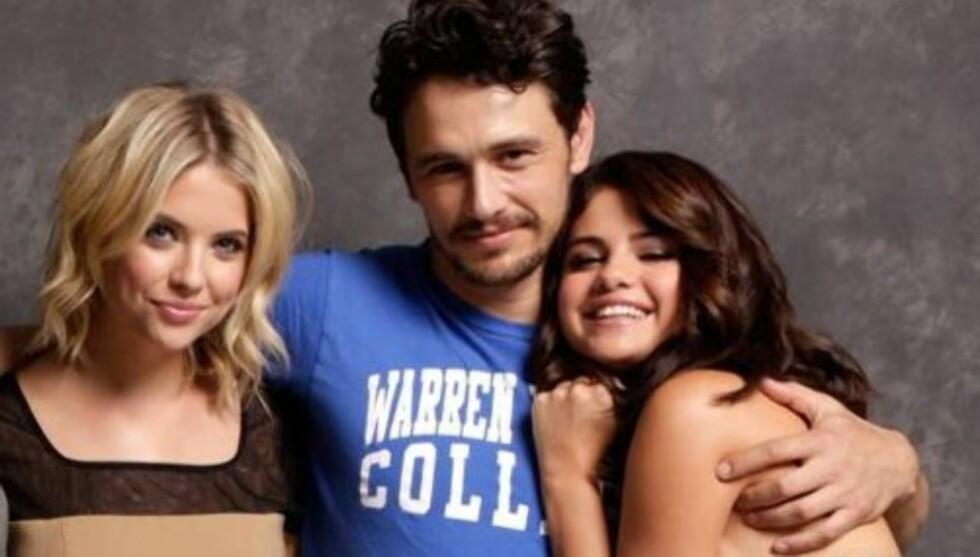 TRIO: Ashley Benson, James Franco og Selena Gomez spiller alle i filmen «Spring breakers».  Foto: All Over Press