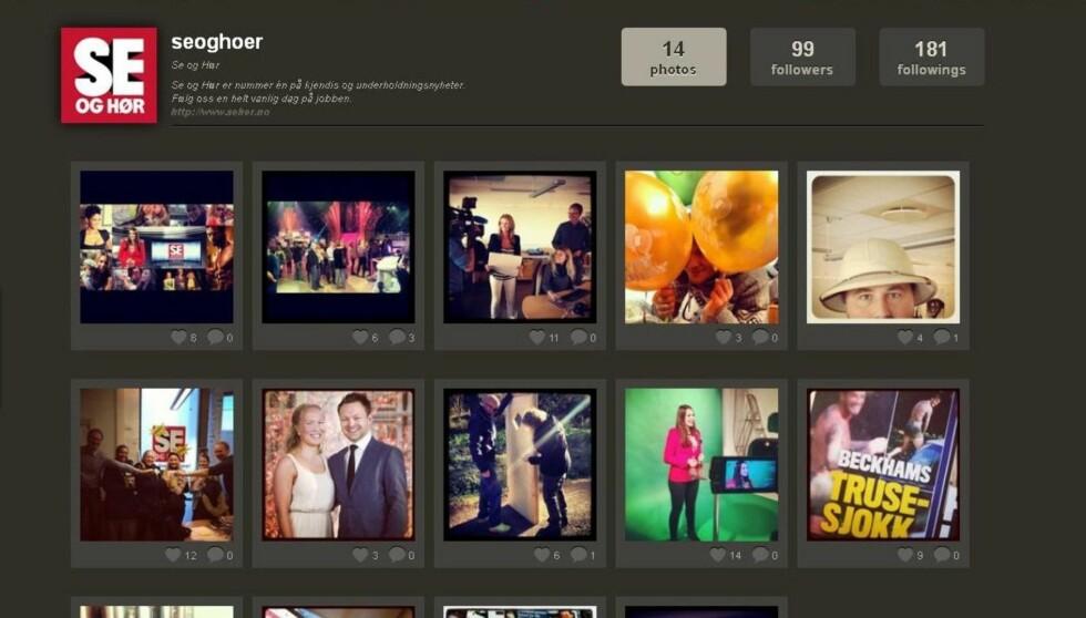 I KULISSENE: Følg Se og Hør på bildedelingsprogrammet Instagram for å se hvordan Norges største kjendisblad jobber.  Foto: Instagram