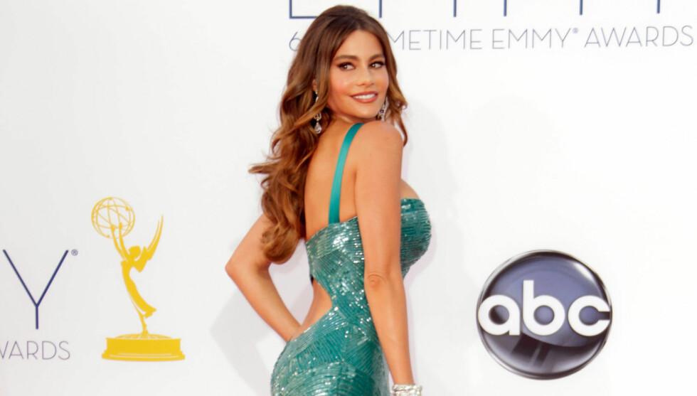 YPPIG: TV-stjernen Sofia Vergara viste frem formene sine under utdelingen av Emmy Awards forrige uke. «Modern Family» vant prisen for beste komi-serie, mens Vergaras kjole spjæret bak. Det var altså ikke frontpartiet, som hennes tidligere manager ment Foto: All Over Press