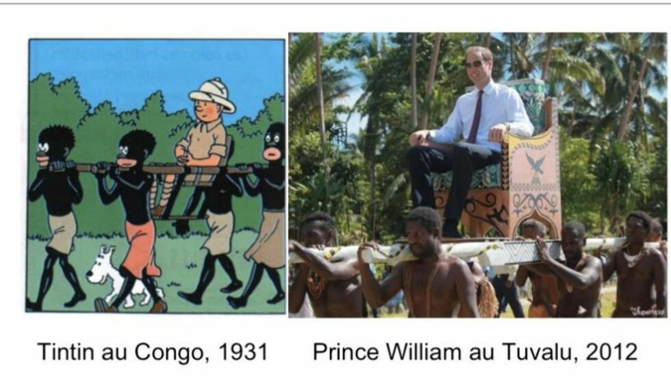 PÅ KONGESTOL: Bildene av William som bæres på kongestol blir latterligjort på sosiale medier  og sammenlignes med Tintin i Kongo. Foto: Faksimile fra Facebook/Twitter