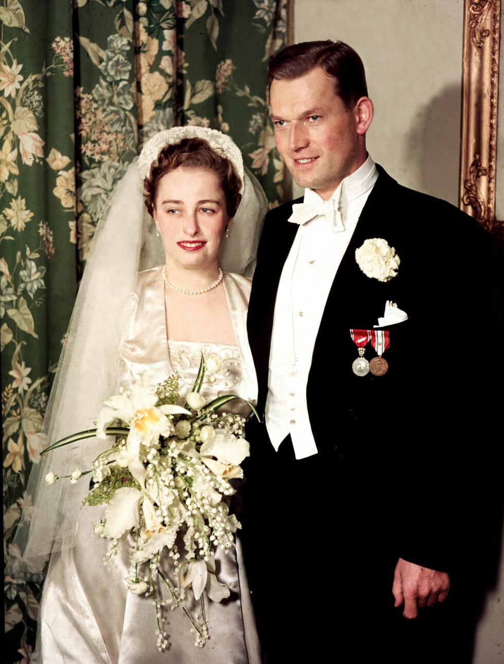 BRYLLUPET: Prinsesse Ragnhild gifter seg med skipsreder Erling Lorentzen 15. mai 1953. Prinsessen døde søndag i parets hjem i Rio de Janeiro, 82 år gammel.   Foto: NTB scanpix